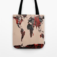 erotic Tote Bags featuring World Map Erotic Red by andréart