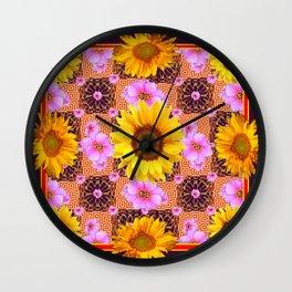 Western Style Burgundy Sunflower Art in Pink Wall Clock