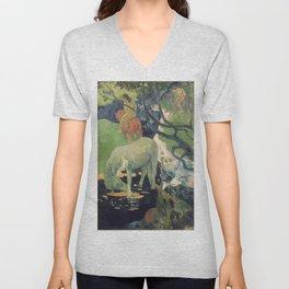 The White Horse by Paul Gauguin Unisex V-Neck