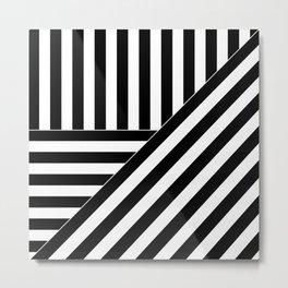 Asymmetric black and white stripes Metal Print