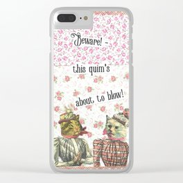Beware! this  quim's about to blow! handcut collage Clear iPhone Case