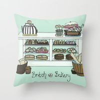 british Throw Pillows featuring British Bakery by Hayley Bowerman Design