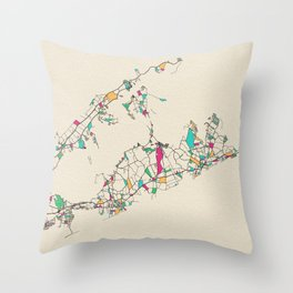 Colorful City Maps: The Hamptons, Long Island Throw Pillow