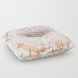 Light Me Up and Away - Copper Rose Gold Floor Pillow