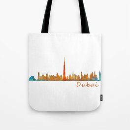 Dubai, emirates, City Cityscape Skyline watercolor art v1 Tote Bag