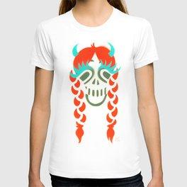 Happy braided Skull Lady_Fire Orange T-shirt