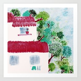 Village houses in the woods watercolor Art Print