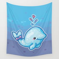 polkadot Wall Tapestries featuring PolkaDot Whale by Byte Size Treasure