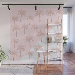 Elegant rose gold glitter palm pattern, white marble & pink Wall Mural