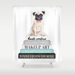 Pug, Books, Fashion books, Gray, Teal, Fashion, Fashion art, fashion poster, fashion wall art, Shower Curtain