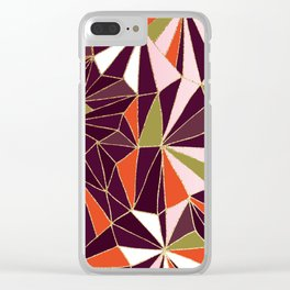 New Art Deco Geometric Pattern - Burgundi and Pink #deco #buyart Clear iPhone Case