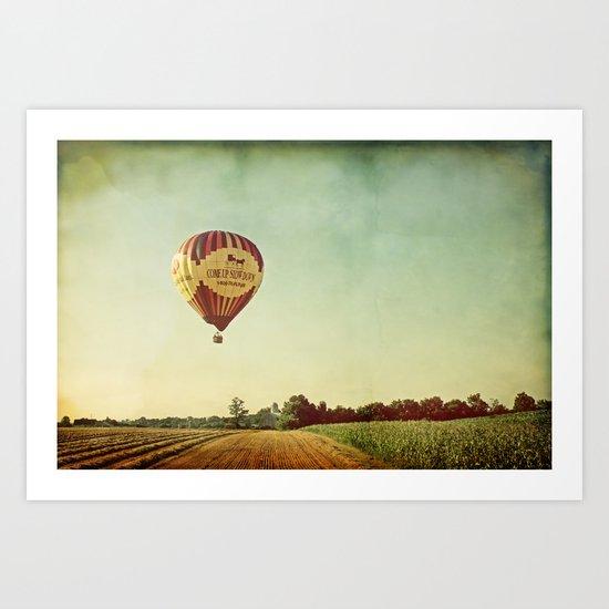 Hot Air Balloon Over Farmland Art Print
