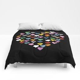 Distressed Hearts Heart Black Comforters