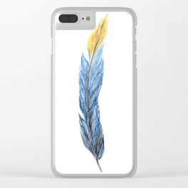 Feather Art, Blue Feather, Long Feather, Yellow, Colorful Feather Art Clear iPhone Case