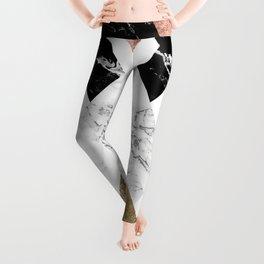 Modern geometric chevron black white marble rose gold foil gold triangles pattern Leggings