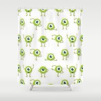 monster inc Shower Curtains featuring Monster's Inc. by Pink Berry Patterns