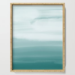 Ocean Sky // Surf Waves Teal Blue Green Water Clouds Watercolor Painting Beach Bathroom Decor Serving Tray