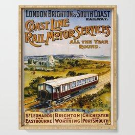 retro iconic Coast Line poster Serving Tray
