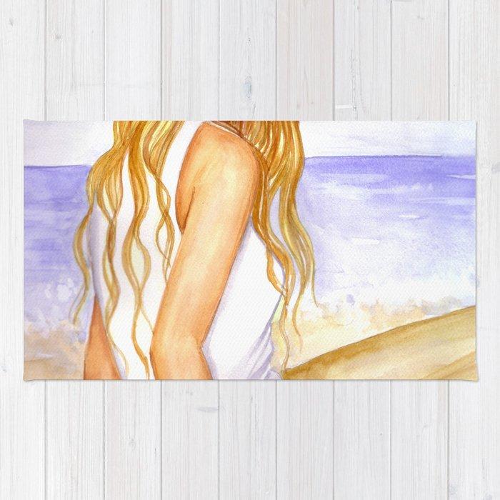 Girl on the beach Rug