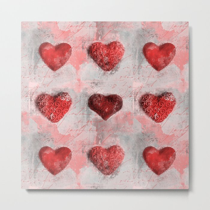Heart Love Red Mixed Media Pattern Gift Metal Print