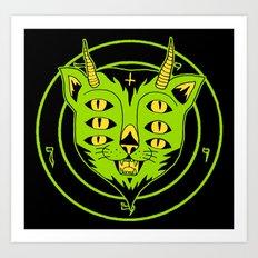 6xEyes Satanic Cat Art Print