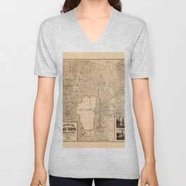 Map Of Lake Tahoe 1874 Unisex V-Neck