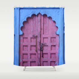 Pink Door In The Blue City, Jodhpur Shower Curtain