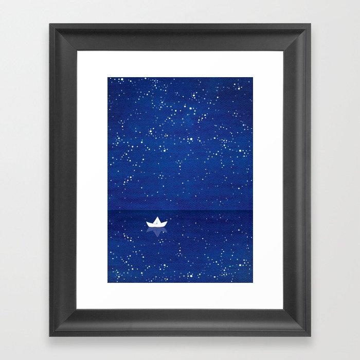 Zen sailing, ocean, stars Gerahmter Kunstdruck