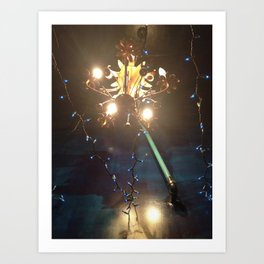 Glowing Flower Chandelier   Art Print