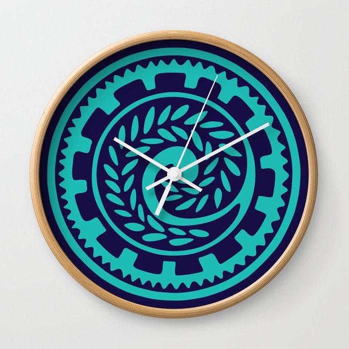 70s Retro Blue Geometric Fl Polynesian Tribal Mandala Wall Clock