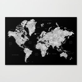 Black and grey watercolor world map with cities Canvas Print