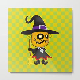 Halloween pumpkin witch Metal Print