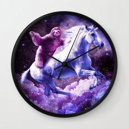 Space Sloth Riding On Unicorn Wall Clock
