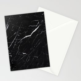 Marble Black Simple  Stationery Cards