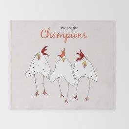 champions cartoon funny chicken Throw Blanket