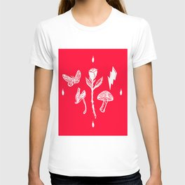 Icon Flora White on Red T-shirt