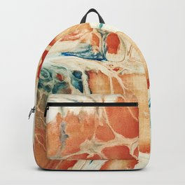 Big Cell Acrylic Peach Blue Pour Painting Backpack