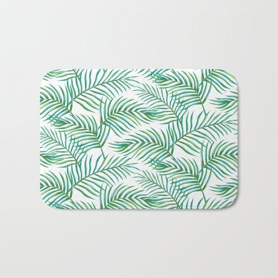 Palm Leaves_Bg White Bath Mat