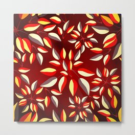 Duo-Toned Leaf pattern 2 (Red) Metal Print
