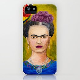 Frida Kahlo and the Macaw Parrot Portrait, Famous Mexican artist, Feminism icon, Great heroic woman, Original oil painting on canvas iPhone Case