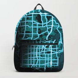 Grand Prairie, TX, USA, Blue, White, Neon, Glow, City, Map Backpack