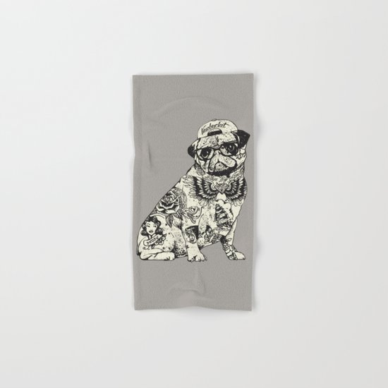 Pug Tattoo Hand & Bath Towel