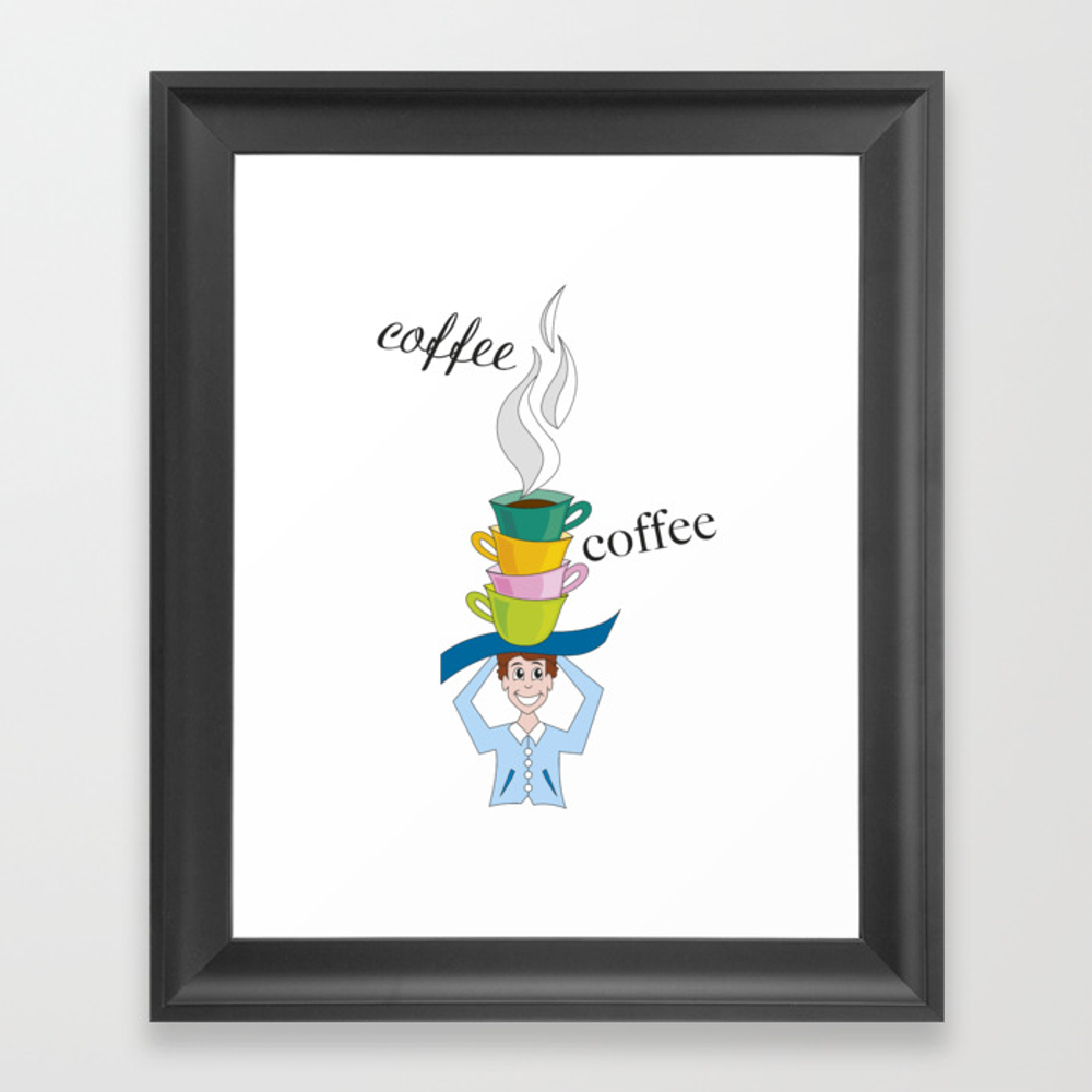 Cups Of Steaming Coffee Framed Art Print by Crearinery FRM8702516