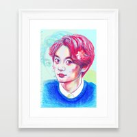 shinee Framed Art Prints featuring SHINee Minho by sophillustration