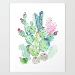 Watercolor Cactus light Art Print
