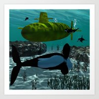 submarine Art Prints featuring Submarine by nicky2342