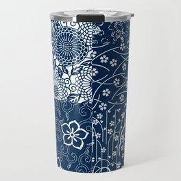 Japanese Flow Patch Blue Seamless Patterns Symbols Travel Mug