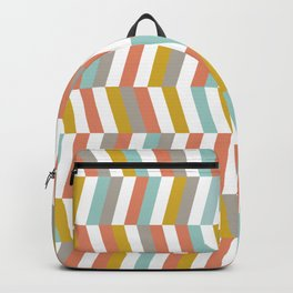 Yellow, Red, Grey and Blue | Geometric Pattern Backpack