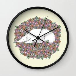 Bear in the Flowers Wall Clock