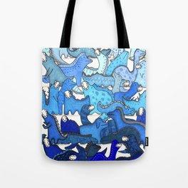 Blue Dinosaur Gradient Tote Bag